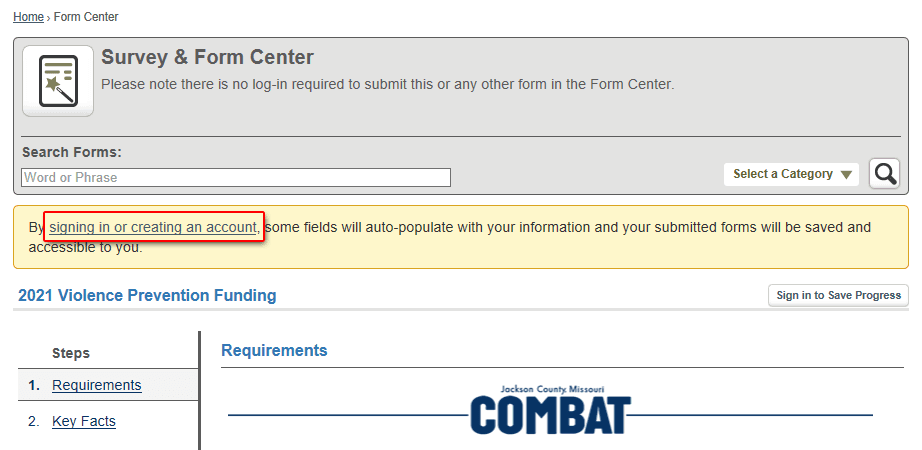 Form Center Sign-In Option