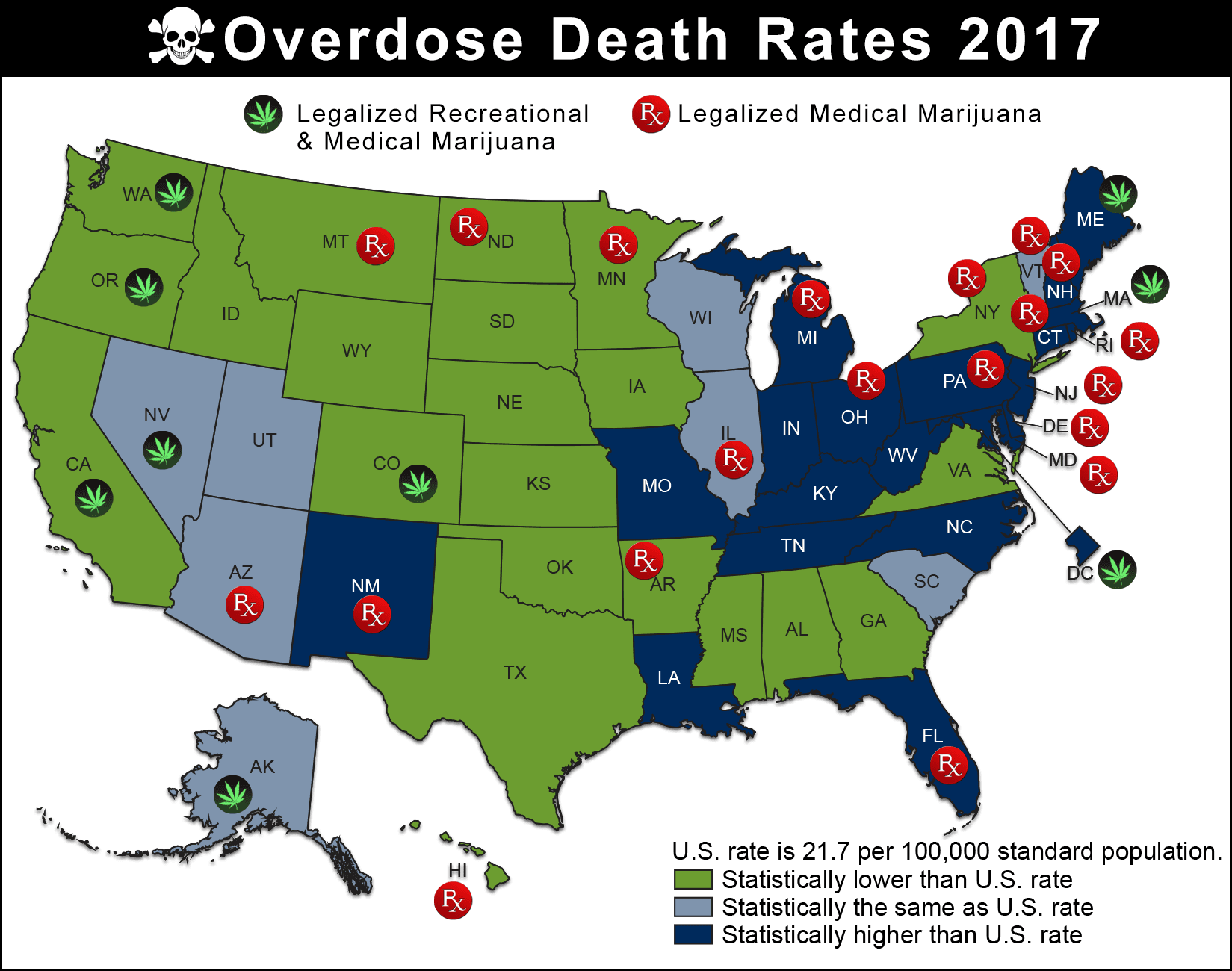 Map Depiciting Overdose Death Rates By State