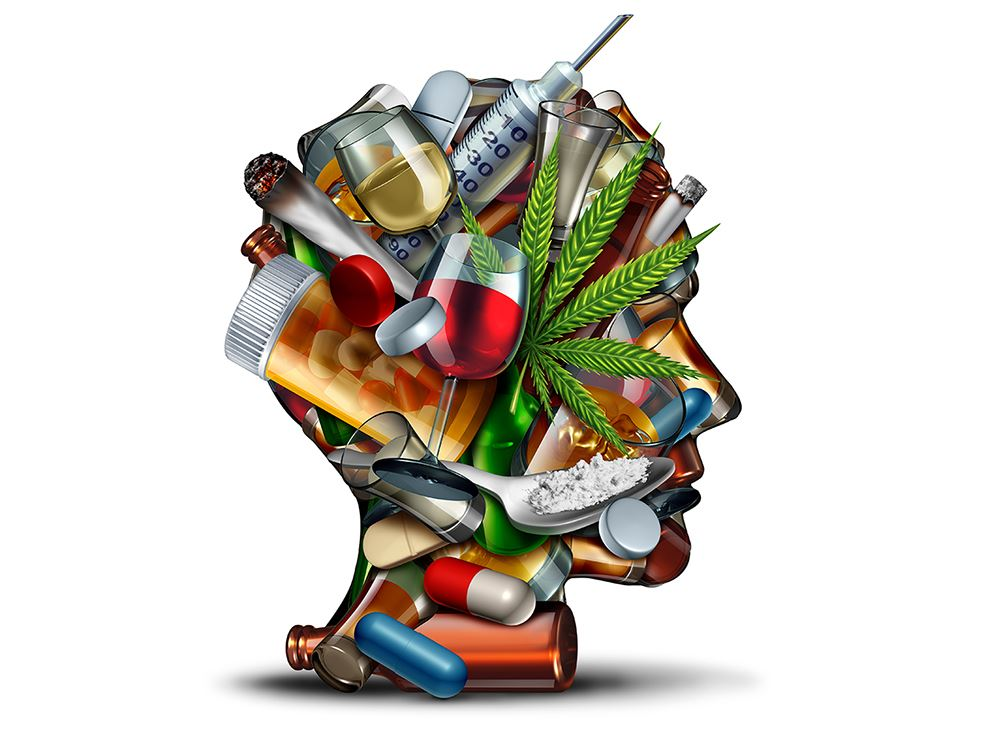 Addiction On The Brain Graphic, depicting individual lots of drugs, drink and cigerettes inside thei